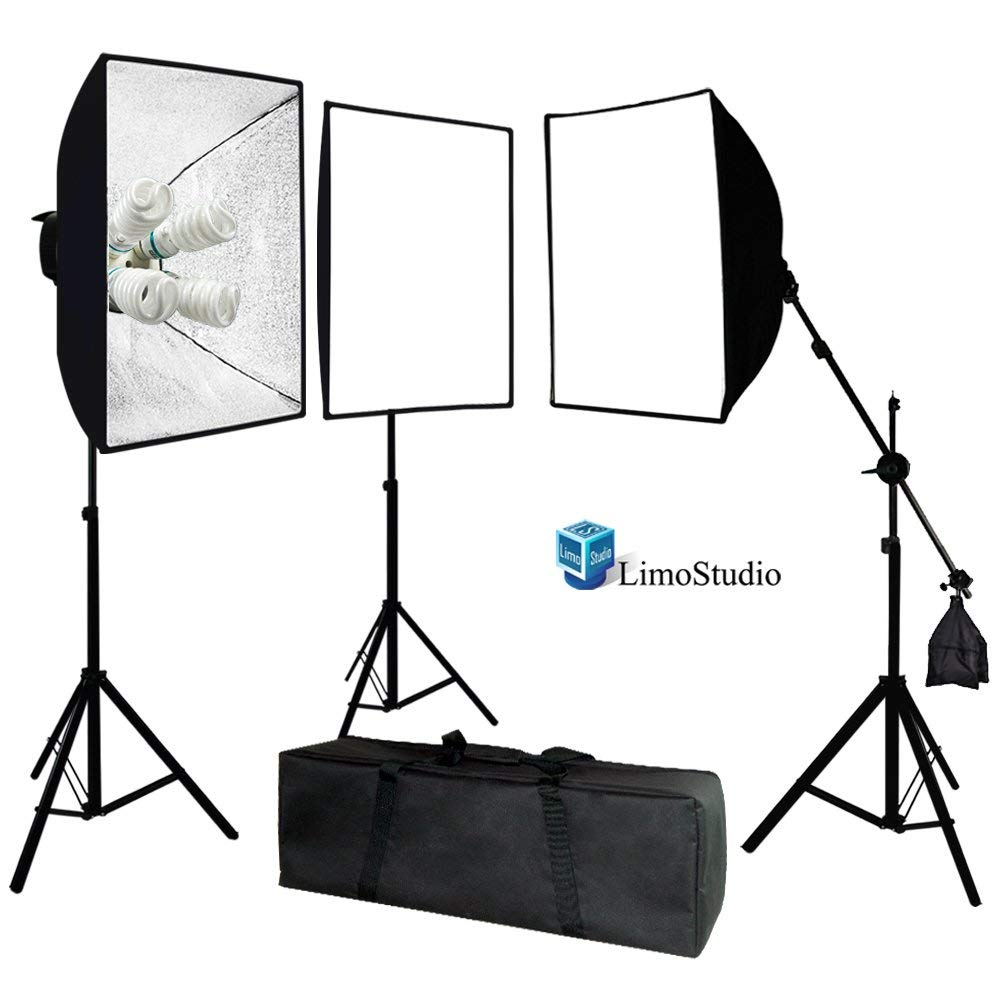 LimoStudio Photo Video Studio 2400 Watt Softbox Continuous Light Kit with Overhead Head Light Boom Kit [3 pieces] similar-image