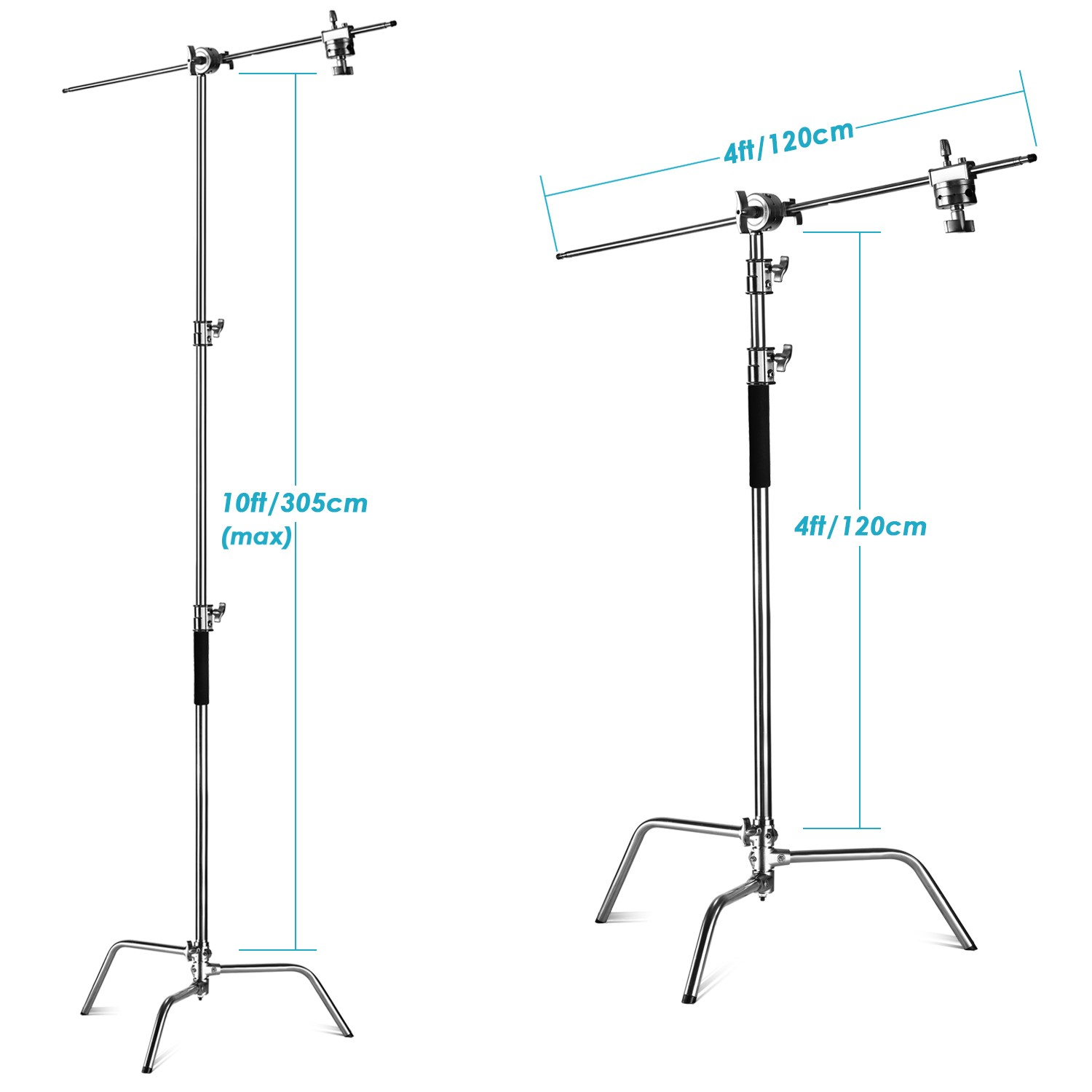 C-Stand Adjustable 10 feet/3 Meters with 4 feet/1.2 Meters Holding Arm and 2 Pieces Grip Head for Photography Studio Video Reflector, Monolight and Others (3-Pack) similar-image